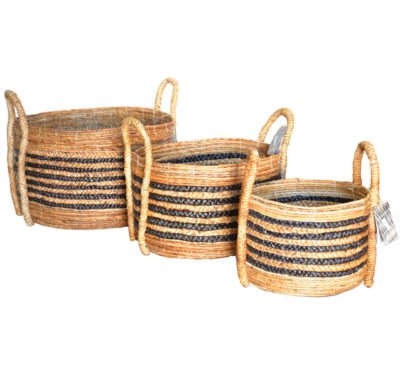 Banana Leaf Round Log Baskets
