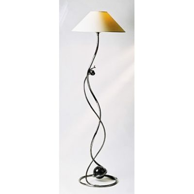 Ball Standard Lamp in polished steel with a light lacquer finish.
