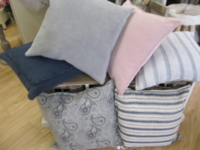 Luxury 100% Cotton Feather filled cushions in various colours with removable cover.