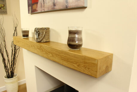 Solid Oak Mantle Contemporary Clear Wax